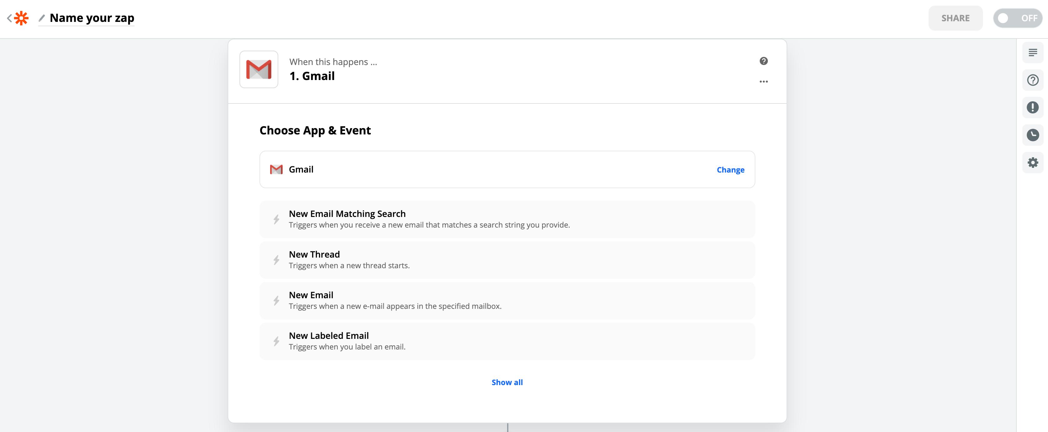 GmailのZapierの設定画像