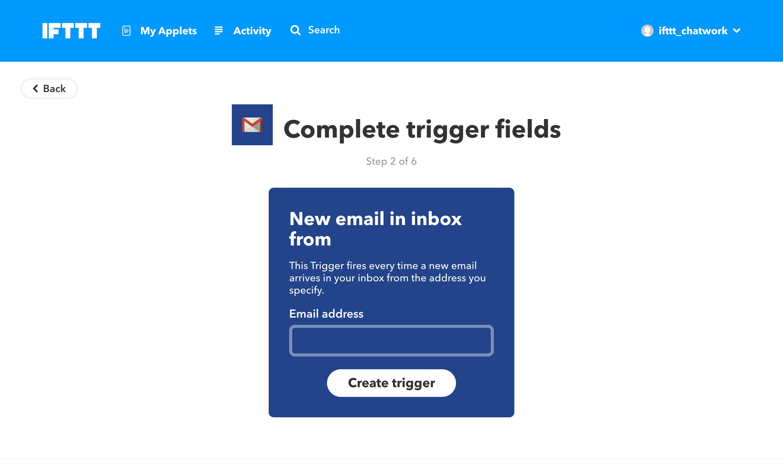 GmailのIFTTTの設定画像