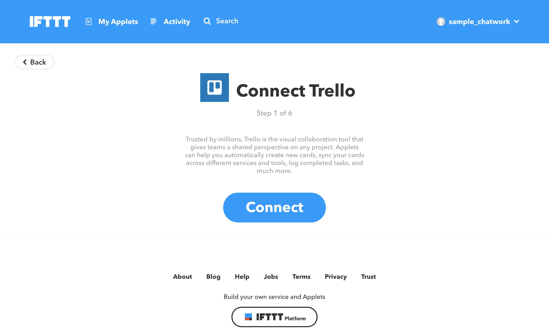 TrelloのIFTTTの設定画像